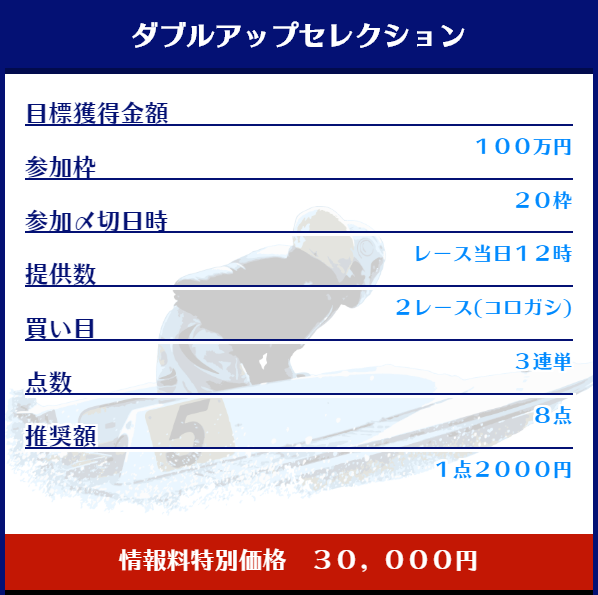 悪徳競艇予想サイト舟生(ふななま) ダブルアップセレクション詳細