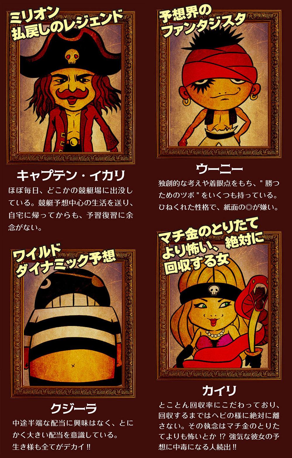 悪徳アプリ 競艇予想海賊団 プランのキャラはキャプテン・イカリ、ウーニー、クジーラ、カイリ