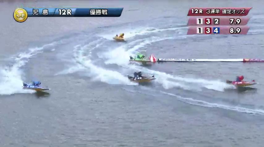 2019年10月27日 児島競艇場SGボートレースダービー優勝戦 馬場貴也選手と松田祐季選手の熾烈な3番手争いは2周2マークで松田選手が膨らんでしまう