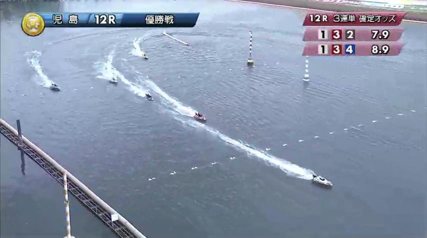 2019年10月27日 児島競艇場SGボートレースダービー優勝戦 馬場貴也選手と松田祐季選手の熾烈な3番手争いは2周2マークで松田選手が膨らんでしまい、馬場選手一気に離しにかかる