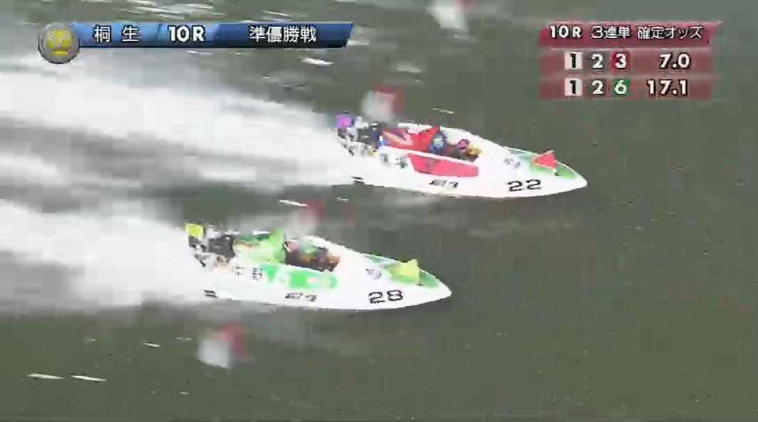 SG2019第22回桐生チャレンジカップ 準優勝戦10R 馬場貴也選手と中野次郎選手の3番手争いは最終周回へ 桐生競艇場
