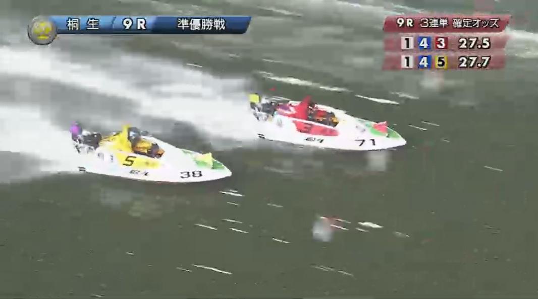 SG2019第22回桐生チャレンジカップ 準優勝戦9R 湯川浩司選手と桐生順平選手の3番手争いは最終周回へ 桐生競艇場