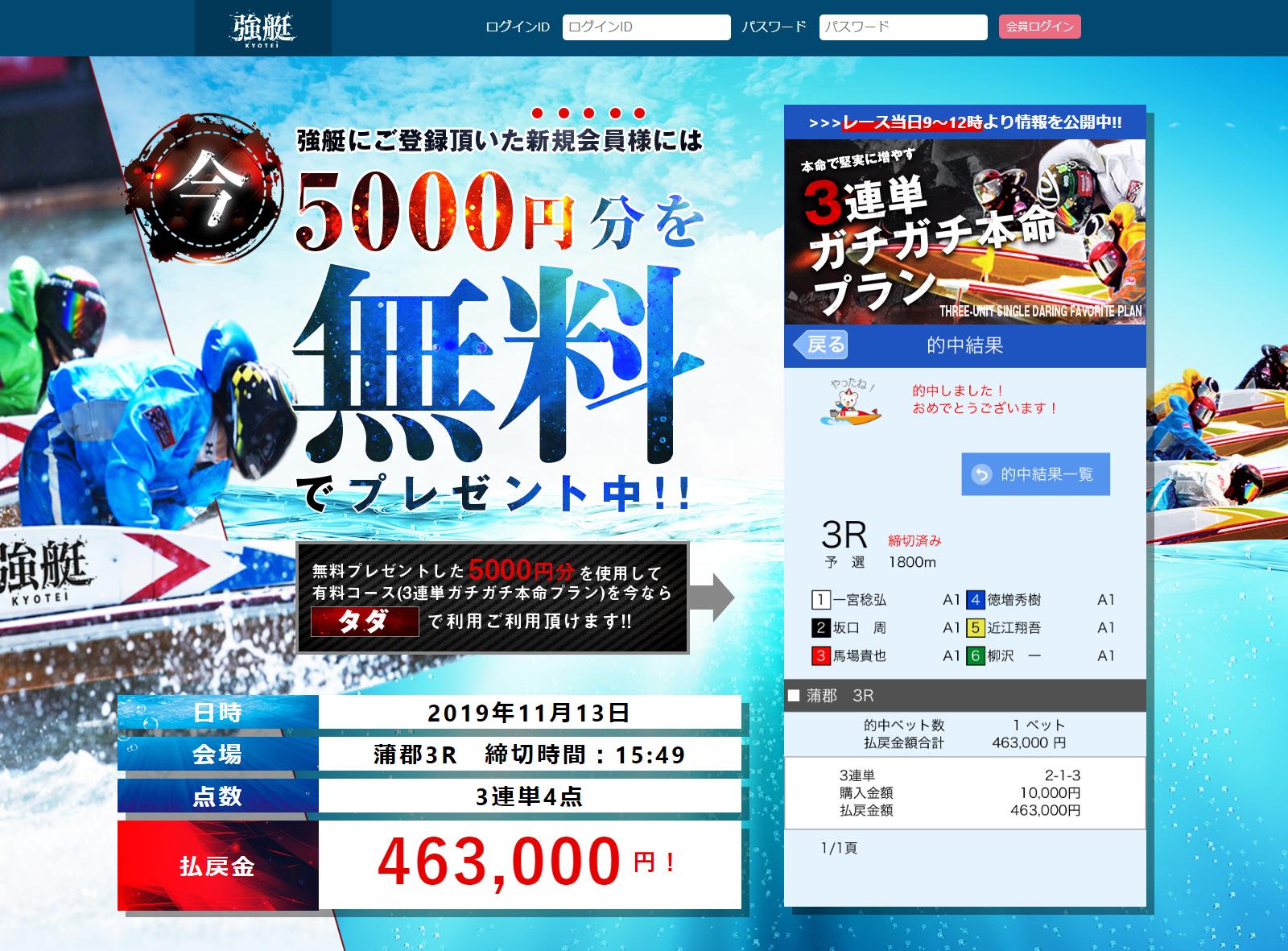 悪徳 強艇-KYOTEI-(きょうてい) 競艇予想サイトの口コミ検証や無料情報の予想結果も公開中 非会員トップ