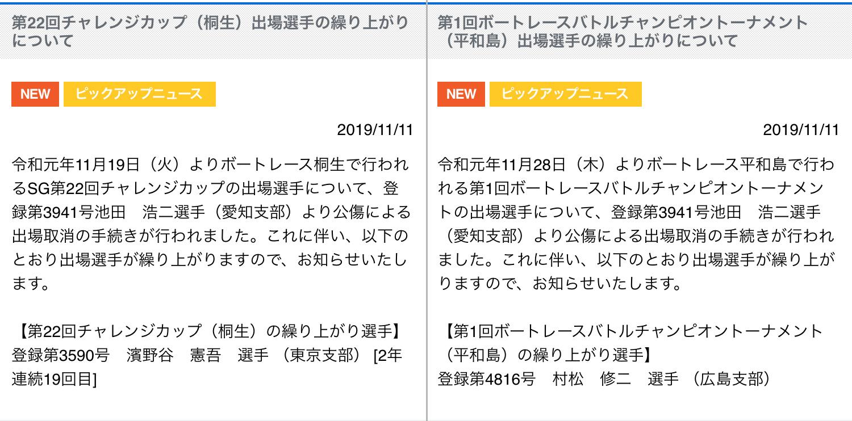 競艇選手 池田浩二選手 若松のレースで受けた公傷(骨折)によりSGチャレンジカップ、BBCトーナメントを欠場 愛知支部のボートレーサー