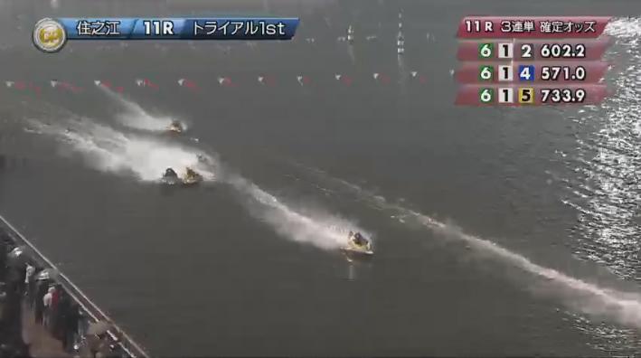 2019年グランプリ(賞金王決定戦)初日トライアル1st 11R 3番手争いは最終周回へ ナイター 住之江競艇場