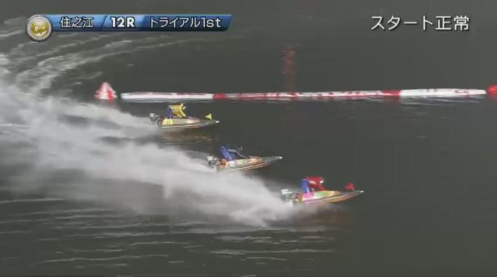 2019年グランプリ(賞金王決定戦)初日トライアル1st 12R 残った3艇で2マークを旋回、内を取る池田浩二選手 ナイター 住之江競艇場