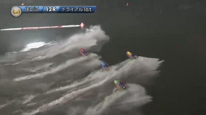 2019年グランプリ(賞金王決定戦)初日トライアル1st 12R 1周1マークでアクシデント発生 ナイター 住之江競艇場