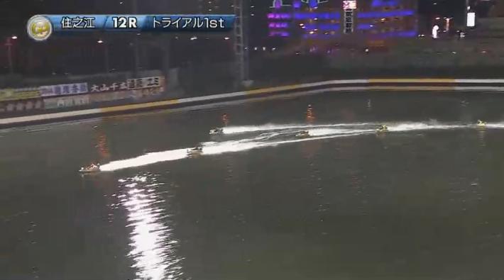 2019年グランプリ(賞金王決定戦)2日日トライアル1st 12R ナイター バックストレッチでの3番手争い 住之江競艇場