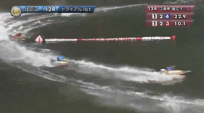 2019年グランプリ(賞金王決定戦)2日日トライアル1st 12R ナイター 今垣光太郎選手が3番手に 住之江競艇場