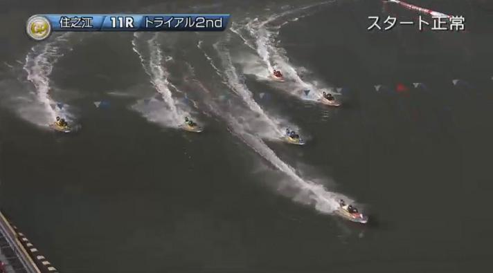2019年グランプリ(賞金王決定戦)トライアル2nd1日目11R ナイター バックストレッチは接戦 住之江競艇場