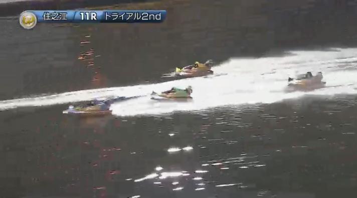 2019年グランプリ(賞金王決定戦)トライアル2nd1日目11R 2周1マークで池田浩二選手が3番手に浮上 ナイター 住之江競艇場