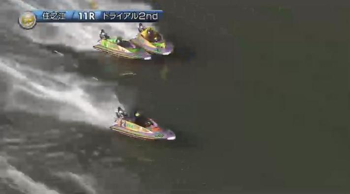 2019年グランプリ(賞金王決定戦)トライアル2nd1日目11R 3番手争いは接戦のまま最終周回へ ナイター 住之江競艇場