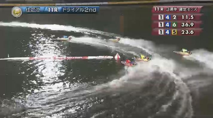 2019年グランプリ(賞金王決定戦)トライアル2nd1日目11R 最終1マーク旋回で石野貴之選手が後続を離す ナイター 住之江競艇場