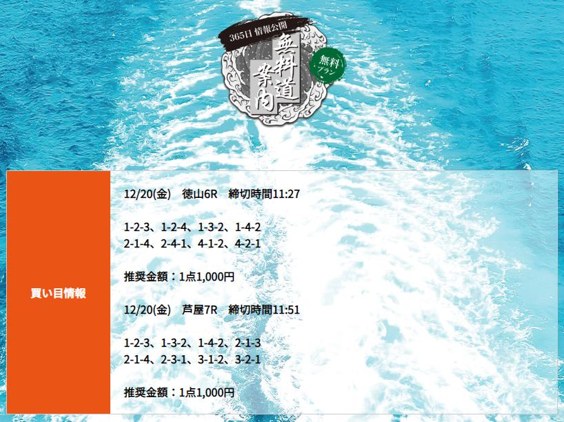 悪徳 競艇道(きょうていどう) 競艇予想サイトの口コミ検証や無料情報の予想結果も公開中 12月20日の無料情報(デイ)