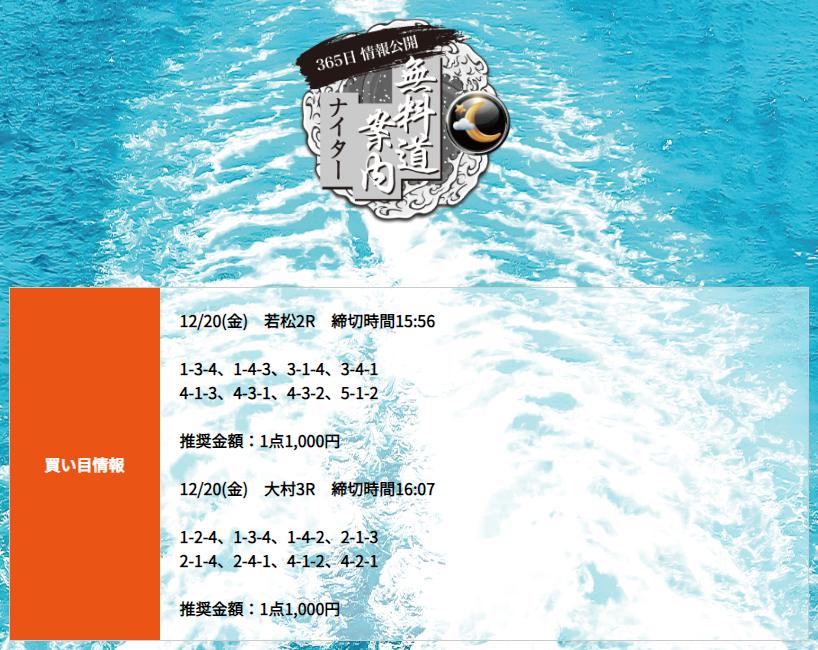 悪徳 競艇道(きょうていどう) 競艇予想サイトの口コミ検証や無料情報の予想結果も公開中 12月20日の無料情報(ナイター)買い目