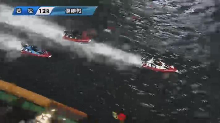 2020年G1ダイヤモンドカップ優勝戦 内からは松井繁選手も追い上げてくる ボートレース若松・競艇場