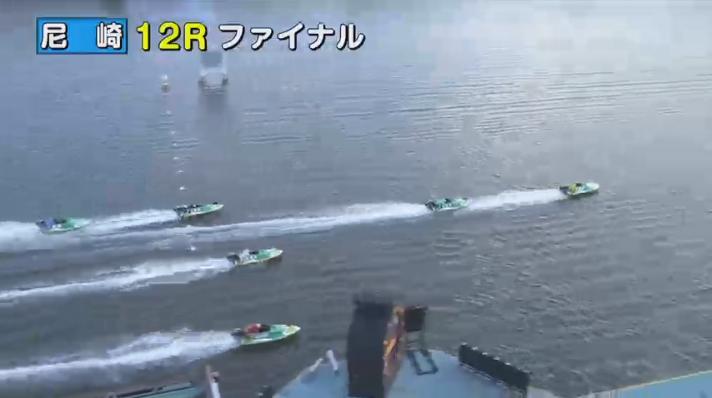 2020年1月13日ファン感謝3Daysボートレースバトルトーナメント優勝戦 福田宗平選手が追い上げてくる 尼崎競艇場・ボートレース