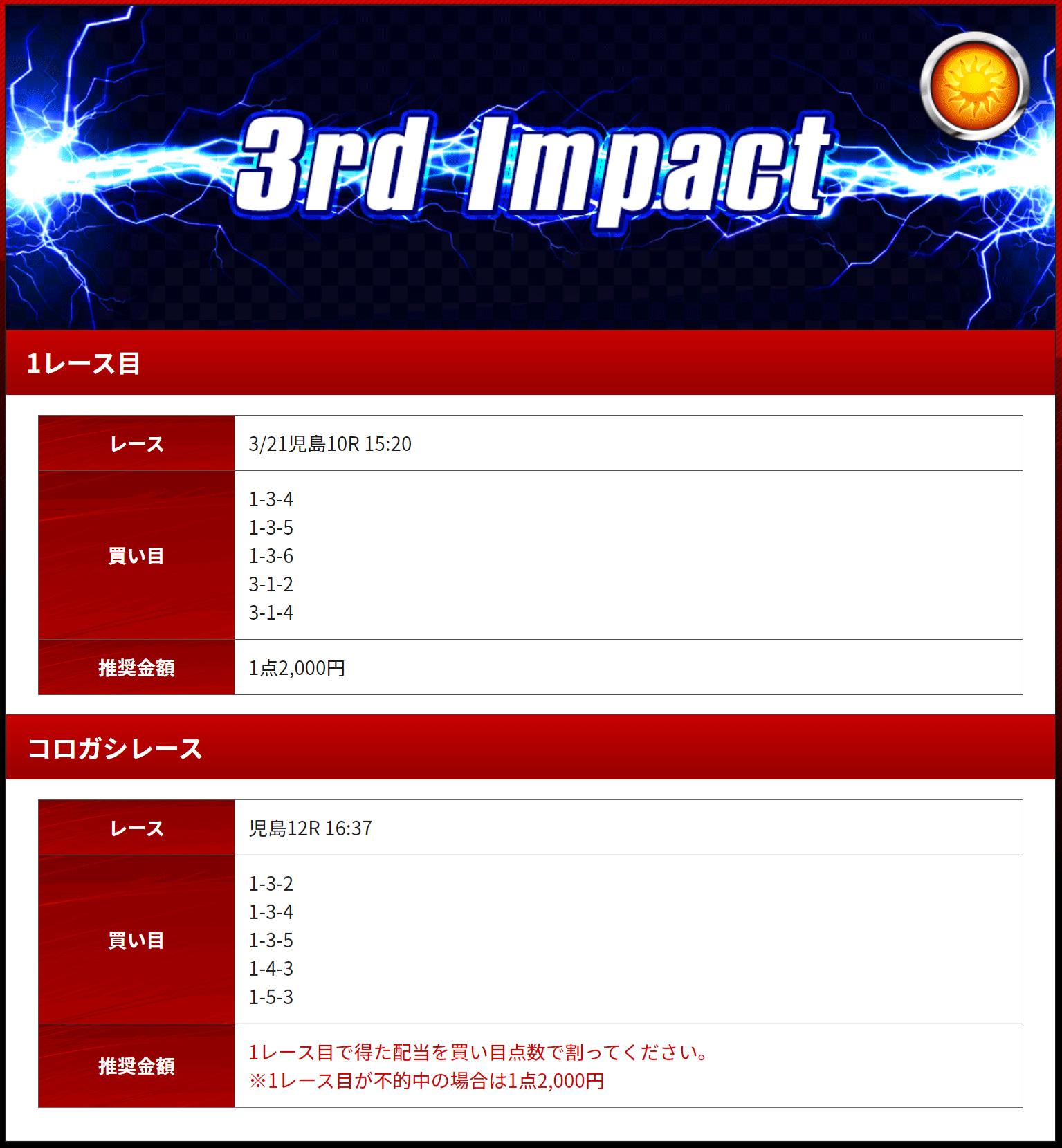 優良競艇予想サイト 競艇IMPACT(競艇インパクト)の有料プラン「3rd Impact(デイ)」2020年3月21日買い目 競艇予想サイトの口コミ検証や無料情報の予想結果も公開中