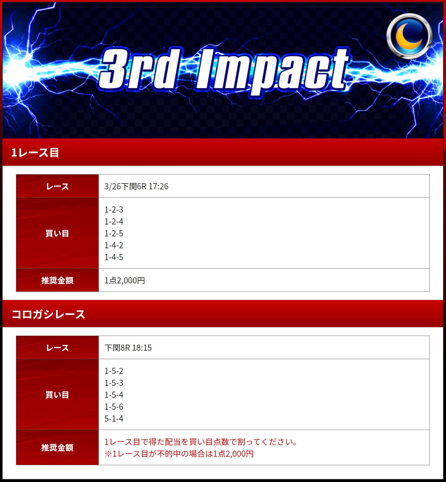 優良 競艇IMPACT(競艇インパクト)の有料プラン「3rd Impact(ナイター)」2020年3月26日買い目 競艇予想サイトの口コミ検証や無料情報の予想結果も公開中