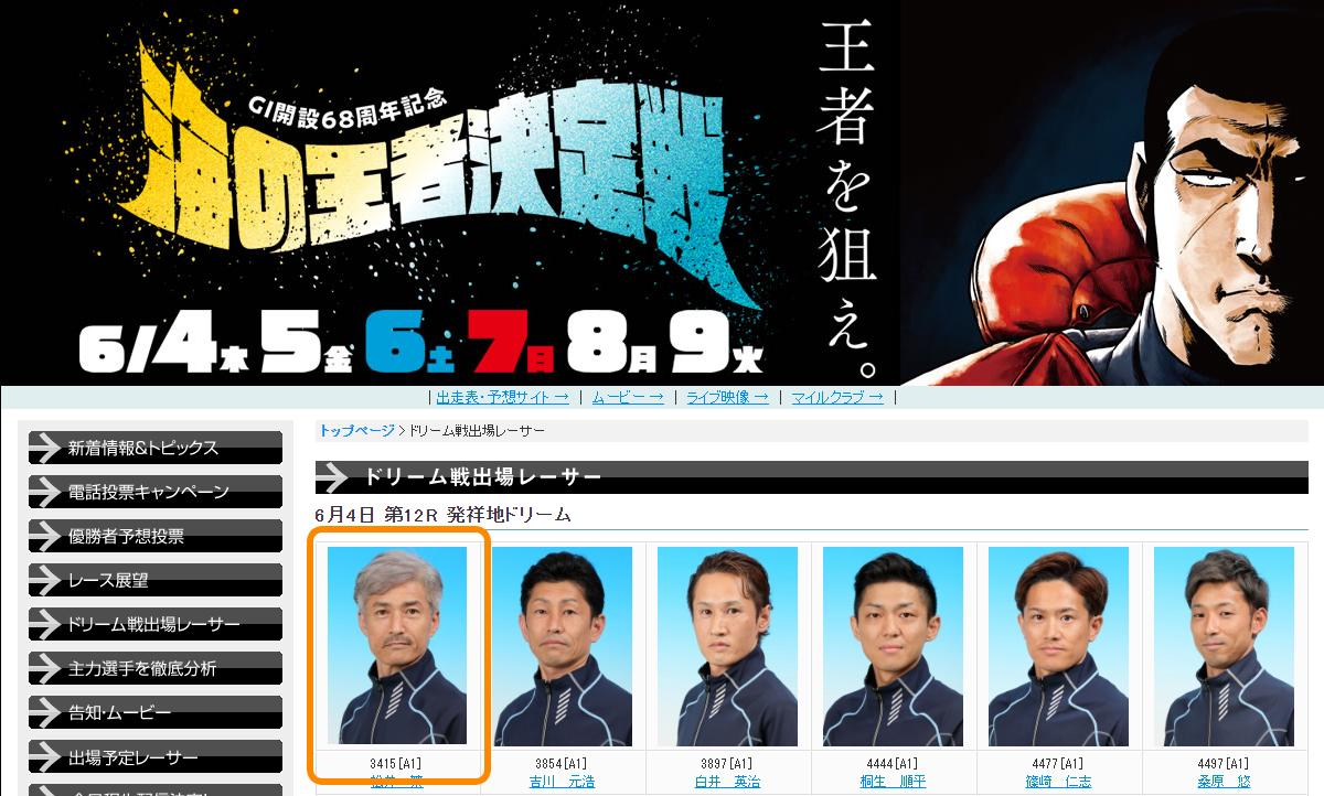 2020年6月G1「海の王者決定戦」王者を狙えと松井繁選手 ボートレース大村・競艇・周年記念