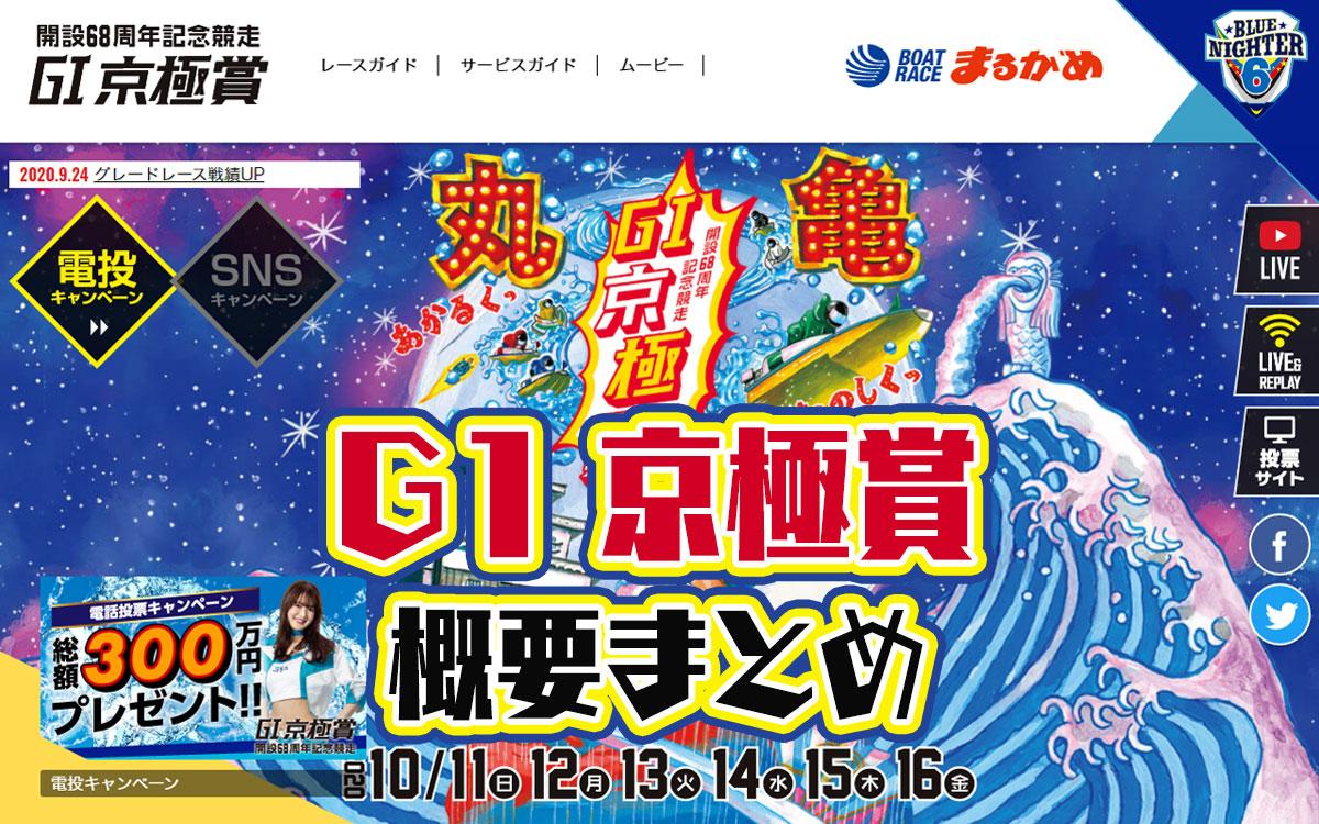 2020年10月G1京極賞 開設68周年記念 概要・出場レーサーまとめ 周年記念・ボートレースまるがめ・競艇