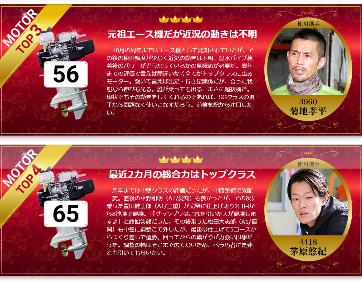 【競艇SG】第35回グランプリ前検!ピックアップモーター4選、前検タイムTOP10。ボートレース平和島・賞金王