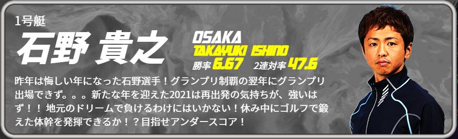 2021年3月 太閤賞初日ドリーム1号艇 石野 貴之選手 概要・出場レーサーまとめ ボートレース住之江・競艇