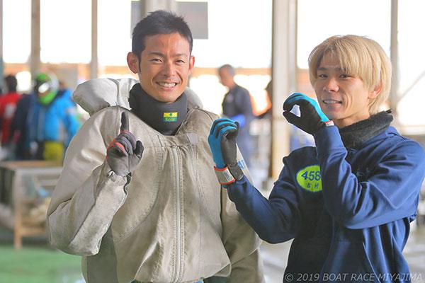 金子萌選手と吉村誠選手。静岡支部・ボートレース桐生・競艇