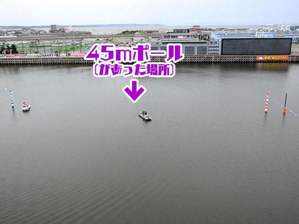【とこなめボート】45メートルの空中線を結ぶ支柱が折れて水没